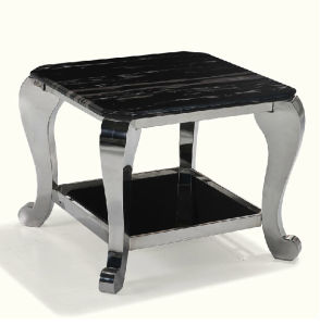 Wholesale Black Marble Side Table with Silver Stainless Steel Frame pictures & photos