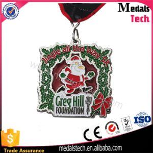 Christmas Marathon Running Item Fluorescent Green Glitter Metal Medals pictures & photos