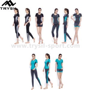 Lady Sports Clothing Sets with Running Pants Fitness Bra and Gym Shirt pictures & photos