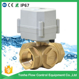 "1"" Dn25 L Port Horizontal Brass Electric Ball Control Motorized Valve 3 Way pictures & photos"