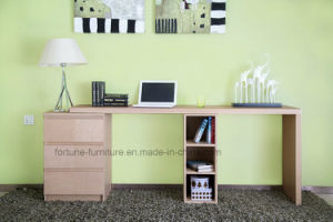 Wooden Stretchable Office Desk with Chest of Drawers and Bookcase (N701-1.8)