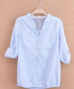 Plain Ladies Shirt in Bamboo Poplin (OEM) pictures & photos