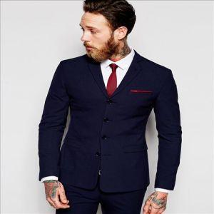 2016 Men′s Designer Super Skinny Four Bottons Navy Suit Jacket pictures & photos