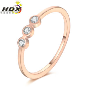 Fashion Accessories Stainless Steel Jewelry Ring Diamond Rose Gold Ring (jdx1136) pictures & photos
