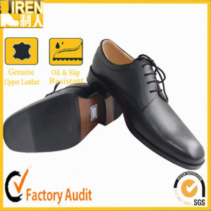 Mens Black Genuine Leather Police Shoes Military Police Office Shoes pictures & photos