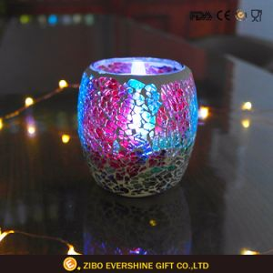 Wholesale Beautiful Cylindrical Electroplating Anaglyph Colorful Glass Candlestick pictures & photos