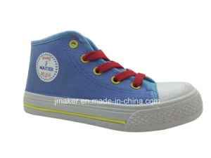 Popular Style High Ankle Children Injection Canvas Shoes (X172-S&B) pictures & photos