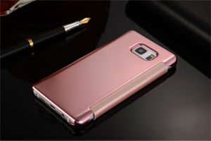 Mirror Surface Gold Hard Plating PC Flip Leather Case for Samsung Galaxy S7 Edge pictures & photos