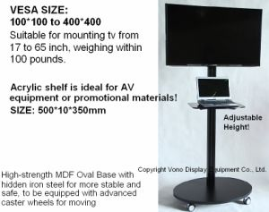 Exhibition Display Single Column Mobile TV Stand with Shelf pictures & photos