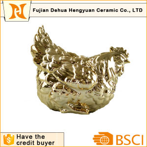 Plating Gold Ceramic Rooster Shape Coin Bank for Home Decoration pictures & photos