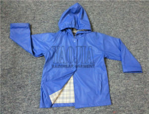 PU Rain Jacket Fashion Design Blue Color pictures & photos
