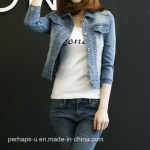 Women Denim Jacket Cowboy Tops Casual Coat pictures & photos