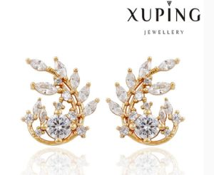 91385 Fashion Elegant CZ Diamond Leaf-Shaped 18k Gold-Plated Imitation Jewelry Earring pictures & photos