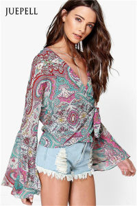 Wrap Over Flute Sleeve Paisley Women Blouse pictures & photos