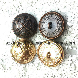 Custom Embossed Logo Vintage Style Brass Shank Button pictures & photos
