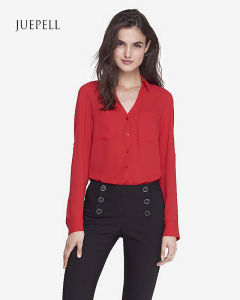 Long Sleeve Loose Office V Neck Women Blouse pictures & photos