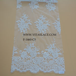 2016 Factory White Rayon and Polyester Wedding Lace Fabric F-1460-C5 pictures & photos