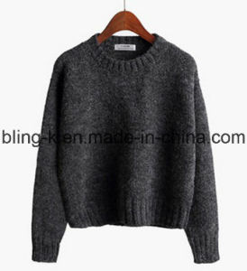 Spring Fall Crewneck Wool Mixed Knitted Sweater for Women/Ladies