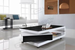 Clear Bent Glass TV Stand with High Gloss White Drawers pictures & photos