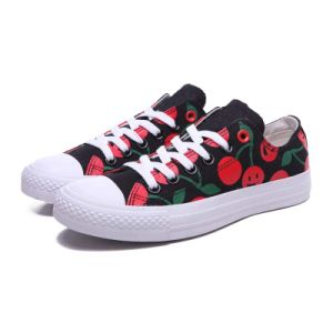 Customized Print Red Cherry Canvas Vulcanized Rubber Sneaker Shoes pictures & photos