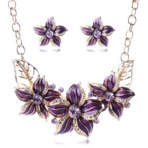 Flowers Statement Diamond Crystal Choker Necklace Earring Set Fashion Jewelry pictures & photos