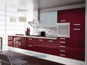 Red MDF Kitchen Cabinet for Wooden Furniture (customized) pictures & photos