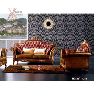 Antique Fabric and Half Leather Sofa Set with Carved Pattern (NCS35) pictures & photos