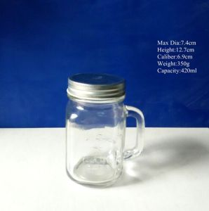 Glass Mason Jar with Handle and Screw Lid