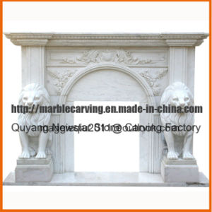 White Marble Fireplace Mantel with Lions Mf1715 pictures & photos