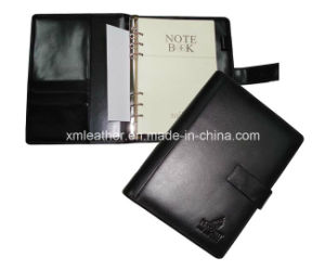 Black A5 PU Leather Notebook with Ring Binder pictures & photos