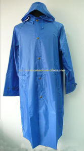 Sky Blue 100% Polyester Long Raincoat with PVC Coated pictures & photos