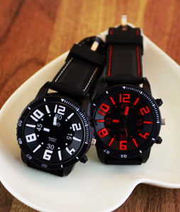 New Product! ! Round Dial Solar Energy Sport Silicon Watches