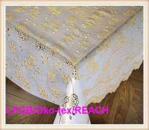 137cm PVC Lace Roll Table Cloths with Gold & Silver pictures & photos