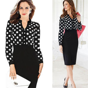 Hot Sale Cheap Women Ol Office Long Sleeve Pencil Dress pictures & photos