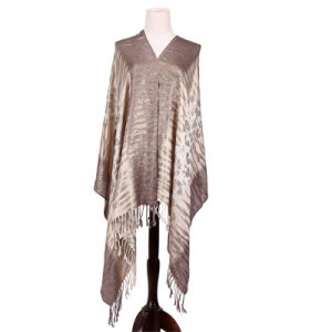 Ladies′ Silver Scarf Viscose Pashmina Winter Shawl pictures & photos