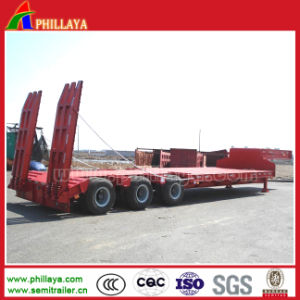 3 Axles Heavy Duty Haul Low Load Lowbed Truck Trailer pictures & photos