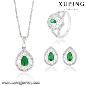 63833 Fashion Luxury Heart-Shaped CZ Diamond Rhodium Royal Imitation Jewelry Set for Wedding Party pictures & photos