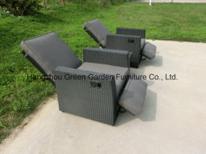 Rattan Furniture Gas Recliner Set Adjustable Sofa with Coffee Table pictures & photos