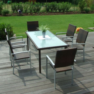 Metal Stainless Steel Aluminumm Balcony Courtyard Cafe Leisure Outdoor Dining Furniture PE Rattan Table and Chairs pictures & photos