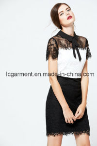 Fashion Short Sleeve Black Lace Office Latest Lady Dress Designs pictures & photos