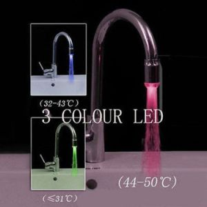 New Magical 3 Color Sensor LED Light Water Faucet Tap Temperature for Bathroom pictures & photos