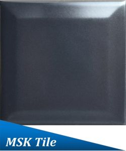 "4X4""Matt Black Bevelled Ceramic Glazed Kitchen Tile"