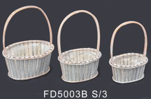 Oval White Woodchip Flower Basket with Rattan Handle and Lining for Indoor Decoration
