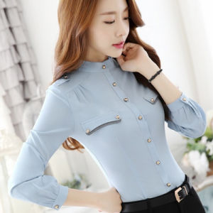 Wholesale Cotton Plain Long Sleeve Women Formal Shirt Designs pictures & photos