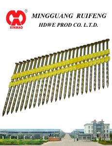 "21 Degree, 3-1/2"" X. 120"" Framing Nails, Screw Shank Bright Plastic Strip Nails pictures & photos"