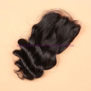 "8A Virgin Brazilian Loose Wave Silk Base Closure Natural Black Bleached Knots Middle/Free/3 Way Part 4X4"" Silk Top Closure pictures & photos"