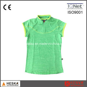 Lady 1/4 Zipper Short Sleeve Collar Neck T-Shirt pictures & photos