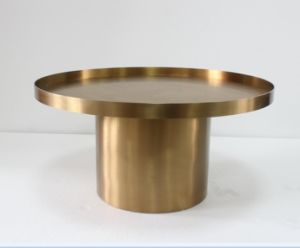 Classic Design Golden Stainless Steel Round Coffee Table pictures & photos