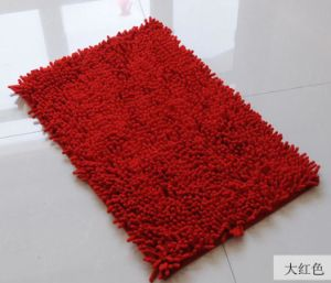 Non Slip Base Chenille Red Color Floor Carpet Mat