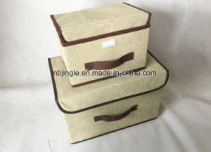 New Arrival Linen Fabric Collapsible Multifunctional Cardboard Storage Box with Lids and Handles